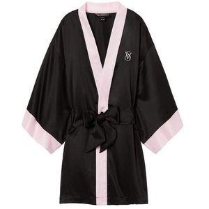 Victoria's Secret Satin Robe in Black and Pink
